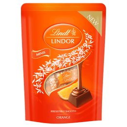 Lindt LINDOR Milk Orange Mini Sticks Pouch 90g