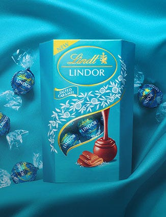 A blue box filled with Lindor Salted Caramel.