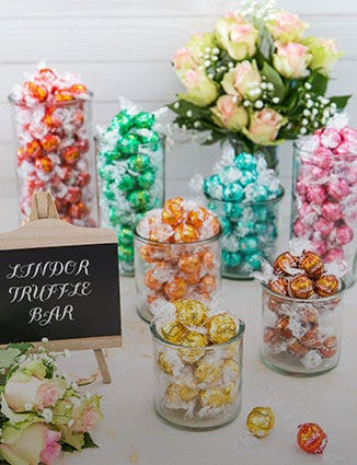 Pots of Lindor for Pick and Mix.