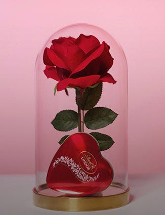 Blooming Red Rose with a tin of heart-shaped Lindor.