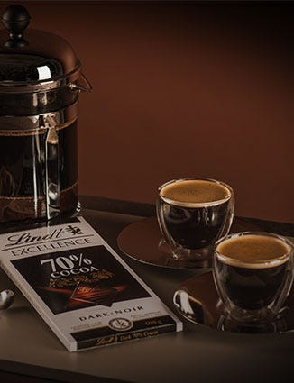 Cups of espresso paired with Lindt Excellence chocolate bar.