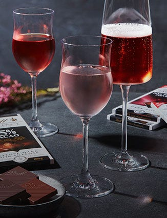 Celebratory glasses of wine with Lindt Excellence.