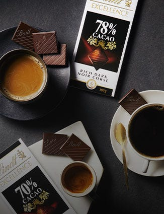 Cups of coffee paired with different bars of Lindt Excellence.