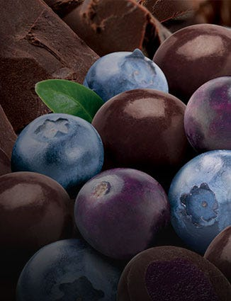 Mixed berries with luxury chocolate.