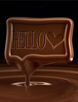 Melting square of Hello chocolate.